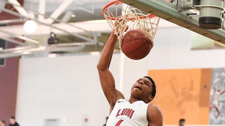 Long Island Lutheran guard Tykei Greene dunks against