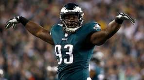 Philadelphia Eagles' Timmy Jernigan reacts after stopping the