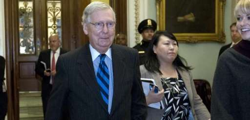 Senate Majority Leader Mitch McConnell after speaking on