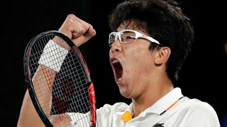 South Korea's Hyeon Chung reacts after winning a