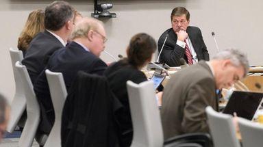 LIRR president Patrick Nowakowski listens Monday during an