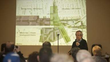 Cecil Bakalor presents a proposal to redevelop Hicksville's