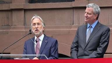 Recording Academy chief Neil Portnow and Mayor Bill