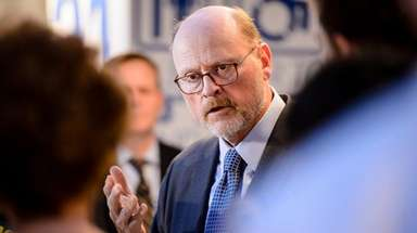 MTA chairman Joe Lhota speaks at a news