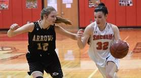 Kaitlyn Wolff of Sachem East drives the ball