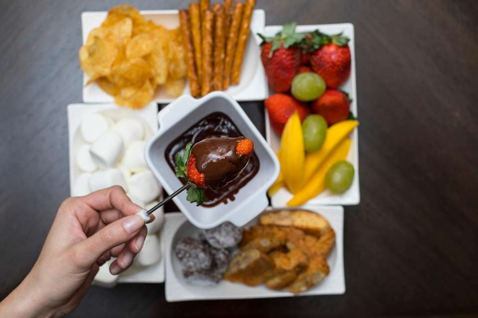 Chocolate fondue and all the fixings, at North