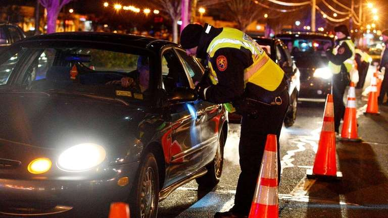 Nassau County Police department conducts a DWI checkpoint