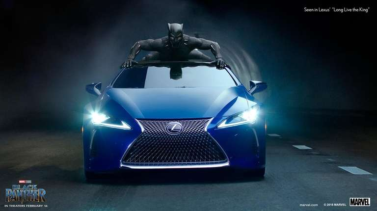 Black Panther crawls on top of a Lexus