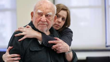 Ed Asner and Blair Baker rehearse the play