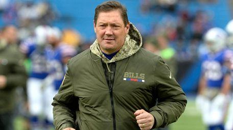 Bills offensive coordinator Rick Dennison is seen prior