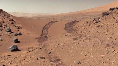 NASA's Mars rover Curiosity captured shots over a