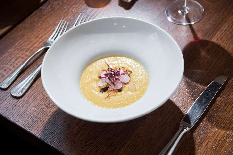 Local peach gazpacho is served at Cove Hollow