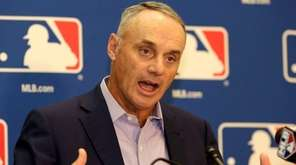 MLB Commissioner Rob Manfred speaks during a news