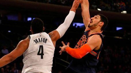 Enes Kanter of theKnicks puts up a shot
