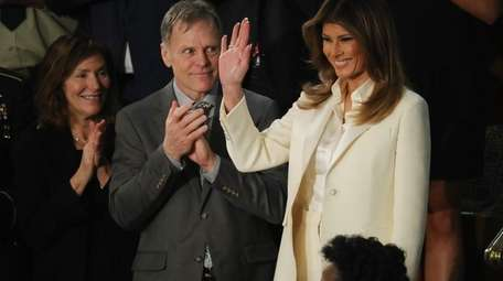 First lady Melania Trump arrives for the State