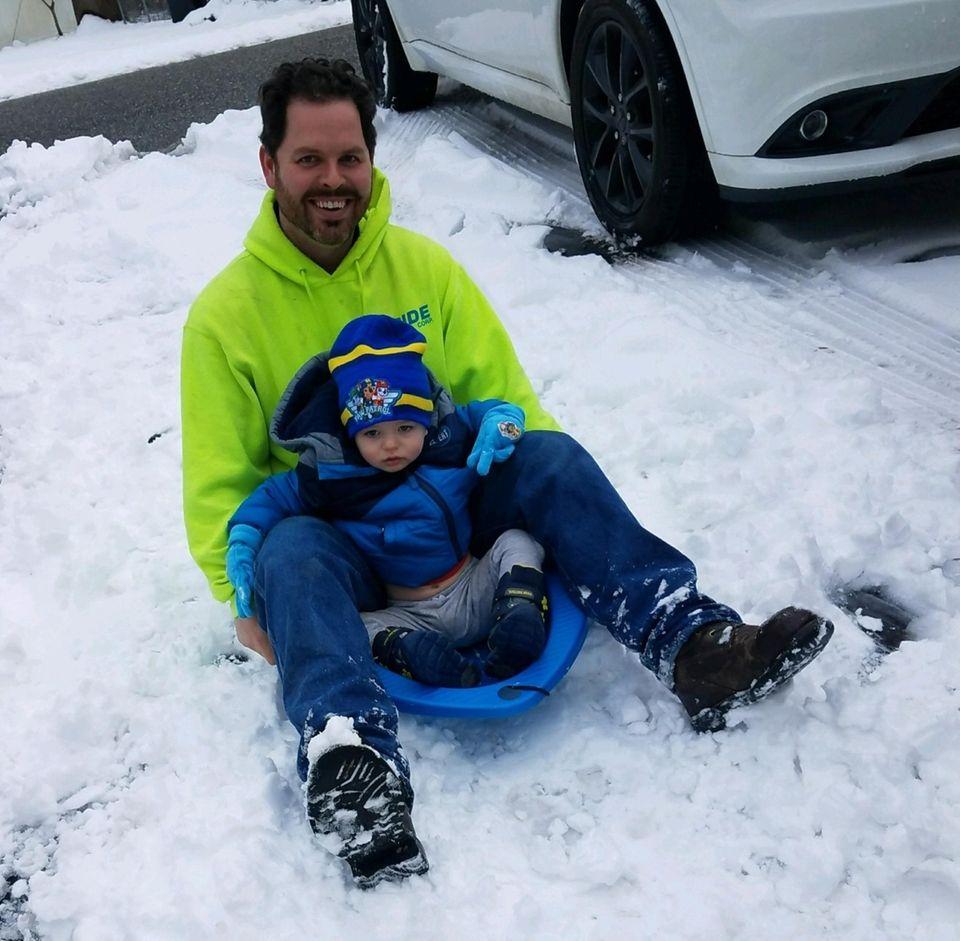 Snow fun Michael 21/2 Connor 11/2 Enjoy first