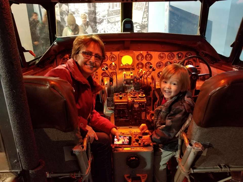 Conor Regenhard and Grandma in a cockpit at