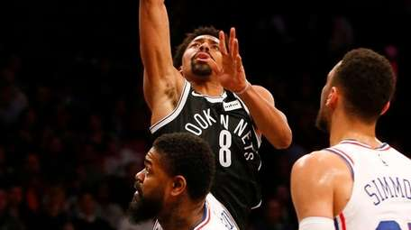 Spencer Dinwiddie of the Nets puts up a