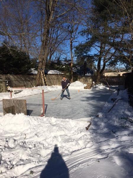 Getting some practice time..Backyard rink. John Ratomski