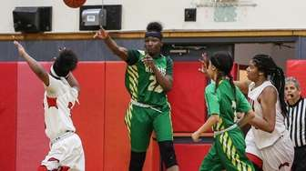 Moneasia McCloud of Wyandanch makes a full court