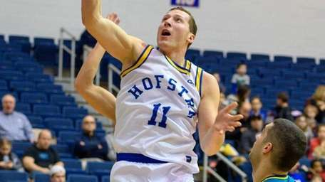 Hofstra Pride forward Rokas Gustys goes to the
