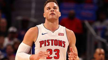 Blake Griffin of the Detroit Pistons celebrates a