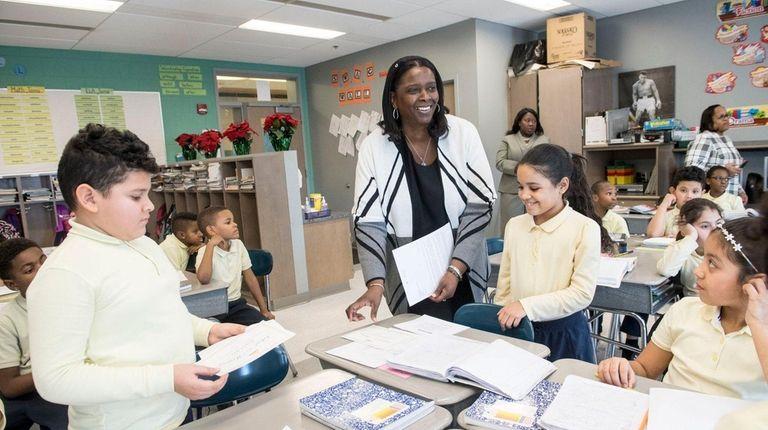 Roosevelt Schools Superintendent Marnie Hazelton talks to a