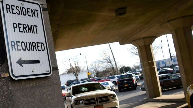 Parking restrictions are posted at the Baldwin LIRR
