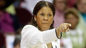 C. Vivian Stringer of Rutgers coaches against LSU