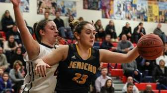 Jacqueline DeLuca of Jericho tries to get past