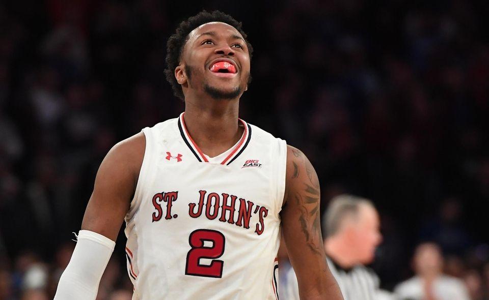 St. John's guard Shamorie Ponds reacts against Duke