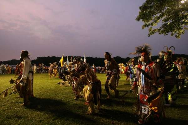 Dancers perform during the Shinnecock Indian Powwow at