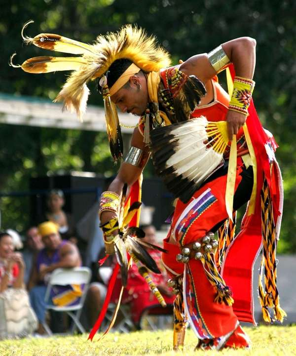 A dancer performs at the Shinnecock Pow Wow