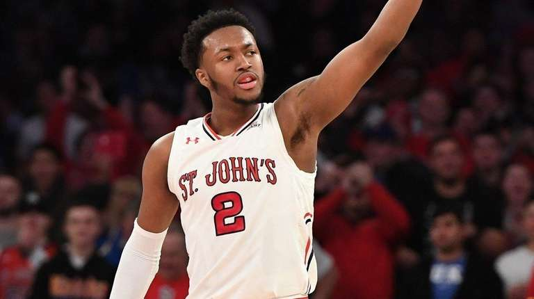 St. John's guard Shamorie Ponds gesture to fans