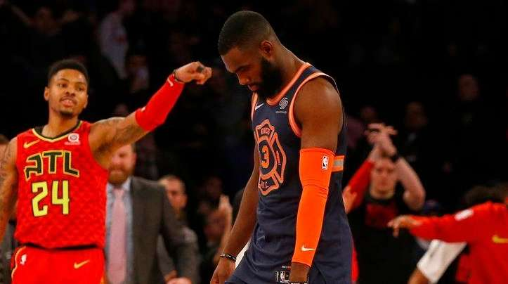Knicks forward Tim Hardaway Jr. looks on as