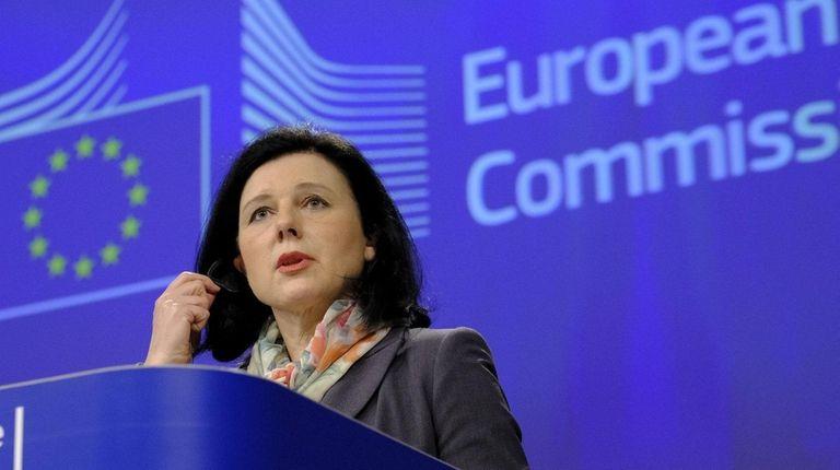 Vera Jourova, a European Union commissioner, speaks Jan.