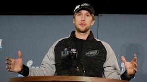 Eagles quarterback Nick Foles talks during a news