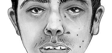 An artist's rendering of a man found shot