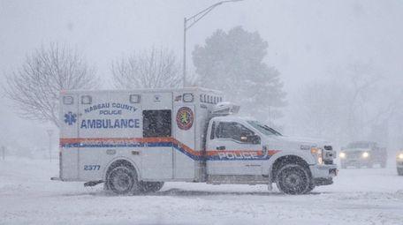 An emergency vehicle on Hempstead Turnpike in East