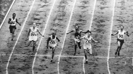 This overhead view of the 200-meter dash finish