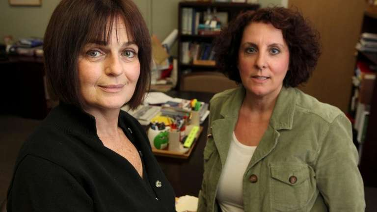 Roberta Gerold, Middle Country school superintendent, left, and