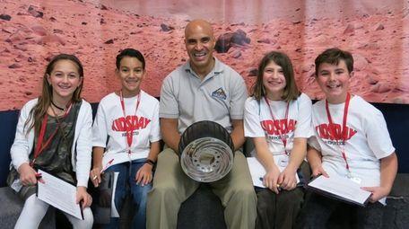 NASA engineer Kobie Boykins with Kidsday reporters, from