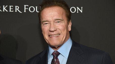 Arnold Schwarzenegger shown at a benefit for Haiti