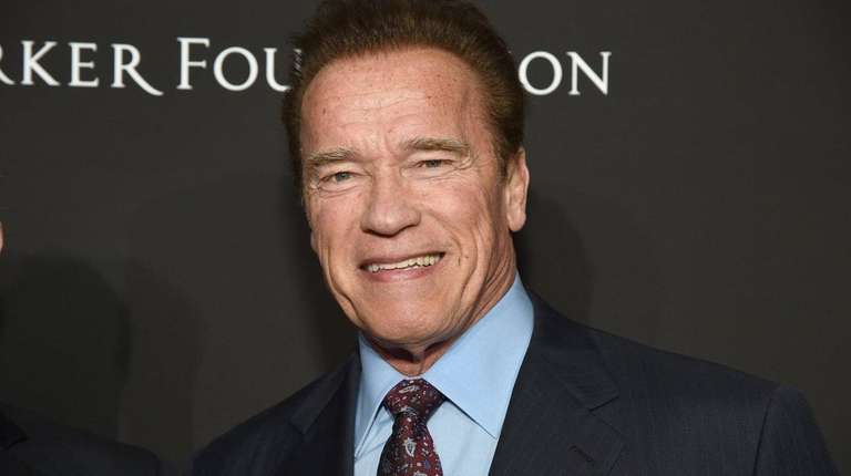 Arnold Schwarzenegger shown at a benefit for Haiti