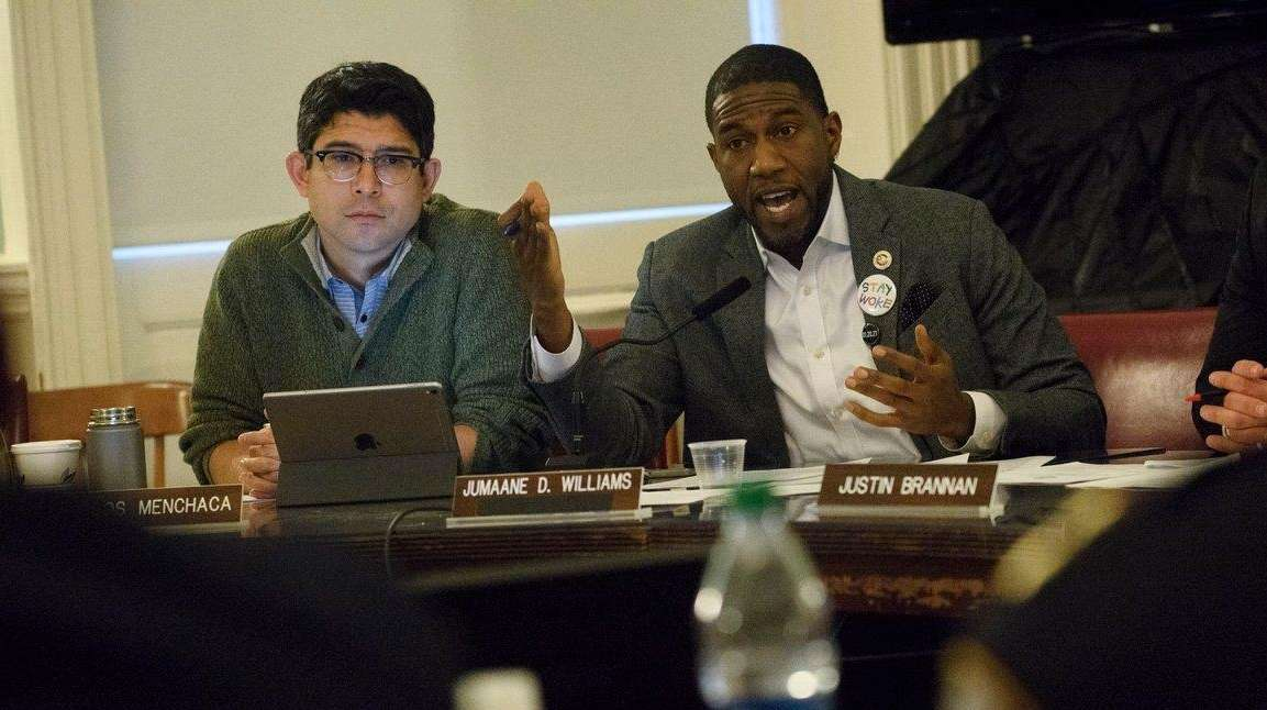 Councilman Jumaane Williams, right, questions the NYPD during