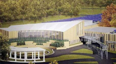 An artist's rendering of the proposed library on