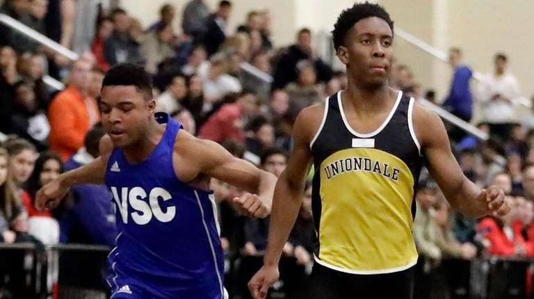 Knights' Chris Borzor wins the 55 meters in