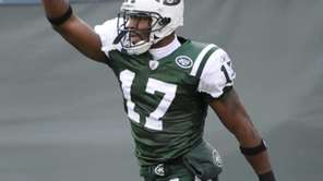 New York Jets' Braylon Edwards celebrates after catching