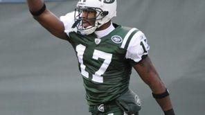 New York Jets' Braylon Edwards celebrates after catching