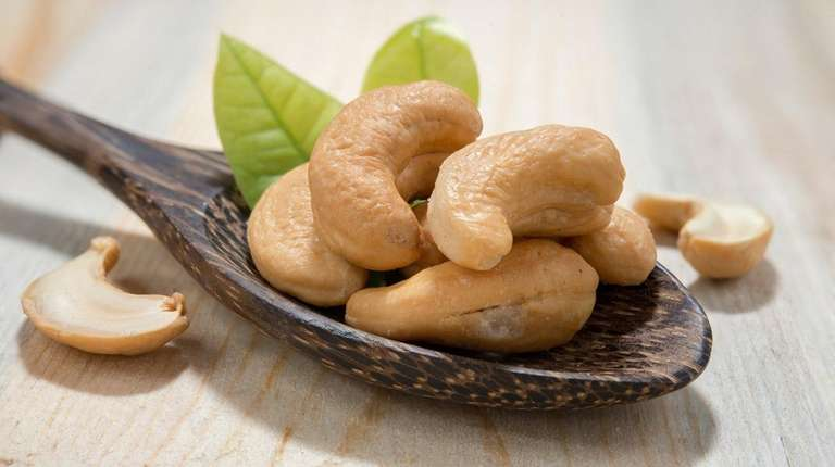 The cashew, the seed of an evergreen shrub,
